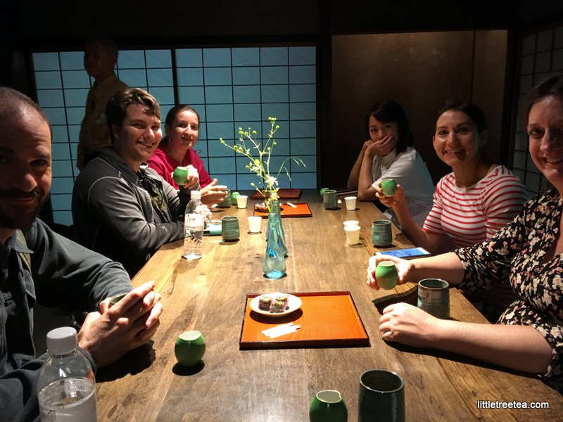 enjoying tea and a snack at the Wagashi factory