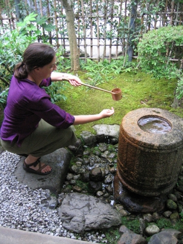 Washing before tea ceremony