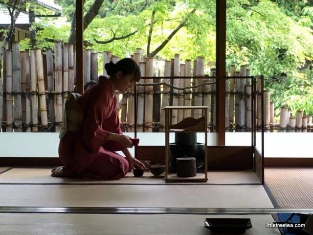 tea ceremony at wagashi factory